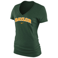 Baylor Bears Nike Women's Arch Cotton V-Neck T-Shirt - Green
