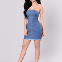 That's What I Like Dress - Medium Wash