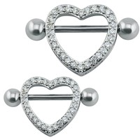 14G Sexy Crystal Heart Nipple Ring High Quality Surgical Steel Love Hearts Nipple Bar Ring Women Barbell Body Piercing Jewelry