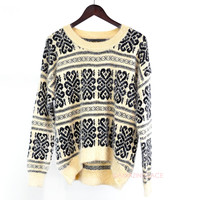SZ MEDIUM Chestnut Chalet Cream Printed Sweater