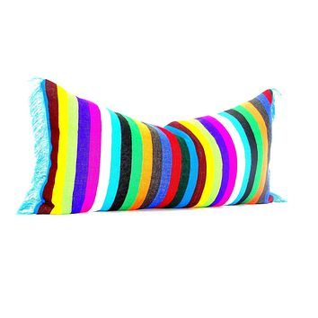 Bohemian decor, Mexican Pillow covers 14x28, funky Mexico Blanket Fabric Pillow,  Tribal Aztec Pillowcase sham multicolor Pillows, 14X28E1
