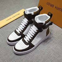 LV Louis Vuitton Men's Leather Fashion High Top Sneakers Shoes