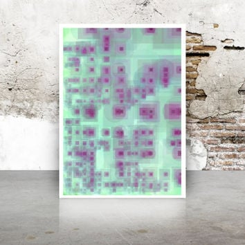 Abstract Generative Art Dividing Bubbles and Boxes growthBoxes_9e, Limited Edition Giclee 8x10, geeky wall art. purple and green kitchen art
