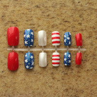Fourth of July- Red, White, and Blue Fake Nails
