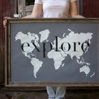 explore Giant Modern World Map Print Poster - 24x36 - gray