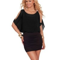 Loose Fit Kimono Sleeve Peekaboo Top Fitted Pencil Skirt Cocktail Dress S M L