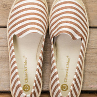 Take Me Out Tan Striped Espadrille Boat Shoes