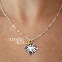 Tangled Inspired Sun Necklace -  Disney themed Rapunzel Pendant