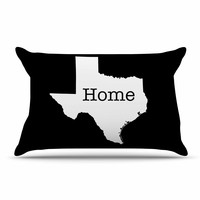 """Bruce Stanfield """"Texas State Outline"""" Black White Pillow Case"""