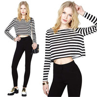Black and White Striped Long Sleeve Crop Top