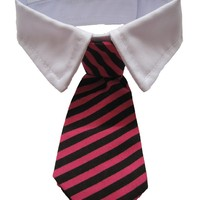 Leegoal Dog Cat Pet Stripe Bow Tie Neck Tie with White Collar (Red Black Stripes,Small)