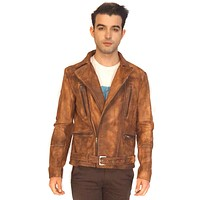 Guru Men Designer Washed Vintage Moto Leather Biker Jacket