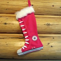 Christmas Stocking-Converse inspired high top shoes- Hot pink-Retro design by CreationzbyCatherine