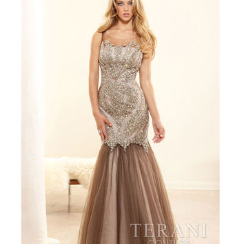 Terani p3117 Taupe Mesh & Crystal Portrait Trumpet Prom Gown 2015 Prom Dresses