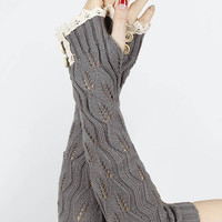 Lace Button Detail Long Wrist Warmers in Gray