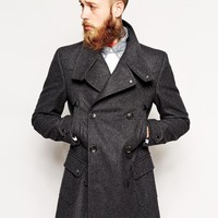 ASOS Wool Jacket With Funnel Neck In Charcoal