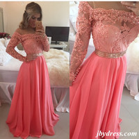 A Line Floor Length Long Sleeves Coral Lace Prom Dress, Coral Lace Bridesmaid/Formal Dresses