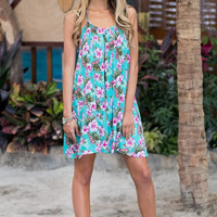 Tropical Getaway Dress - Turquoise