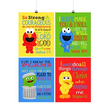 Sesame Street Christian Nursery Decor Set of 4 Prints, Big Bird, Cookie Monster, Elmo and Oscar the Grouch with Bible Verses