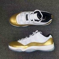 air jordan 11 low gold retro men gs sky sports shoes