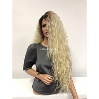 Blond Ombre Swiss Lace Front Wig 28"