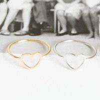 Dainty Heart Ring available in Silver or Gold