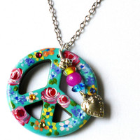 Peace Sign Necklace Hand Painted Colorful Flowers Dangling Boho Jewelry