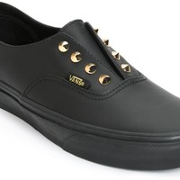 Vans Authentic Gore Stud Black Leather Slip-On Shoes (Womens)