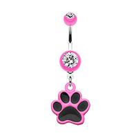 Pink Paw Print 316L Stainless Steel Dangle Belly Ring