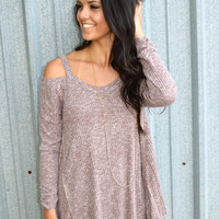 Don't Leave Me In the Cold Shoulder Tee- Burgundy