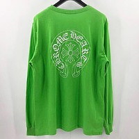 Chrome Hearts New fashion embroidery pattern  print couple long sleeve top sweater Green