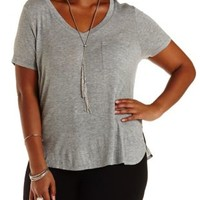 Plus Size Heather Gray V-Neck Boyfriend Pocket Tee by Charlotte Russe