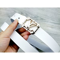 LV tide brand men and women retro wild fashion smooth buckle belt white