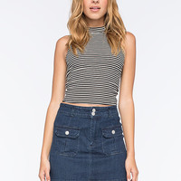 FULL TILT Striped Mock Neck Womens Tank | Crop Tops