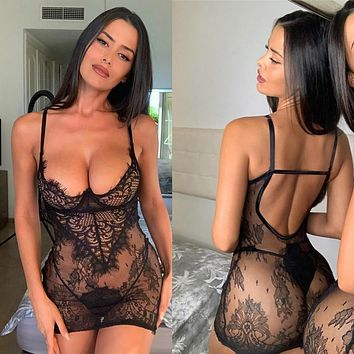 New Sleepwear Large Size Night Dress Lingerie Women Backless Nightwear Eyelash Lace Nightdress Underwear G-String Set