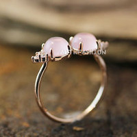 Light Pink Stone Balls Ring Adjustable Open ring Pink Gold Jewelry Gift Idea