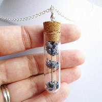 Dried Lavender Corked Glass Vial Terrarium Necklace in Silver, Real Flower Bridesmaids Gifts, Nature Lover Jewelry