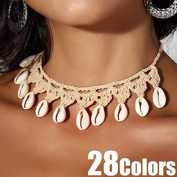 Shell Crochet Jewelry Necklace Bracelet Anklet
