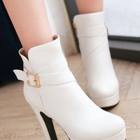 New Women White Round Toe Chunky Buckle Zipper Casual Ankle Boots