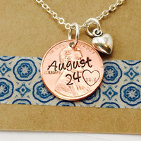 Anniversary Date Hand Stamped Penny Necklace -Personalized Penny Necklace - Couples Necklace Special Date