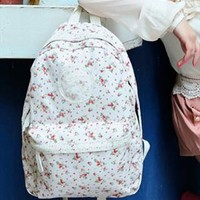 Backpack with Flora Print and Lace WDX654