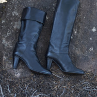 Vintage Boots  Black Italian Leather Fold Down Tall Boots size 8