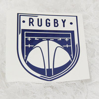 4x4.5 Inch Rugby Insignia Vintage Badge Athletic Graphic Permanent Vinyl Decal/Bumper Sticker