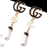 GUCCI new diamond-encrusted exaggerated pearl earrings earrings