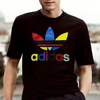 Adidas Summer New Fashion Multicolor Letter Leaf Print Women Men Top T-Shirt Black