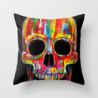 Chromatic Skull Throw Pillow by John Filipe