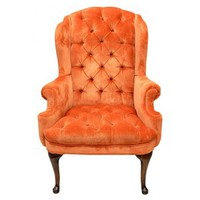 BUTTON TUFTED WING BACK CHAIR
