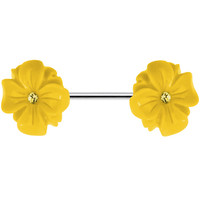 14 Gauge Yellow CZ Blooming Yellow Aster Flower Nipple Ring Barbell | Body Candy Body Jewelry