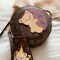 Louis Vuitton LV Women Shopping Bag Leather Cute Bear Circular Crossbody Satchel Shoulder Bag