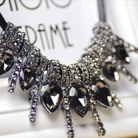 Women's Vintage Necklace with Crystal Pendants